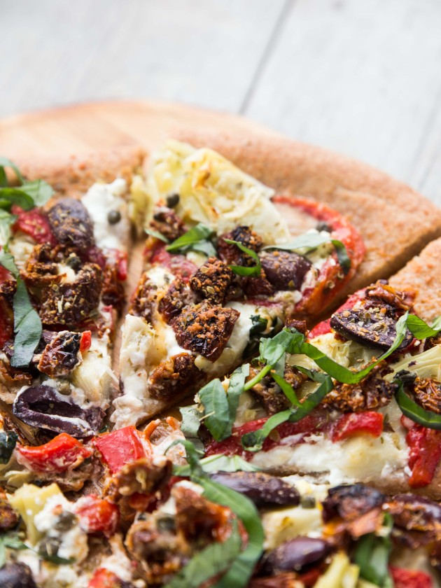 Easy Mediterranean Pantry Pizza - packed with flavor and veggies, and super easy to put together