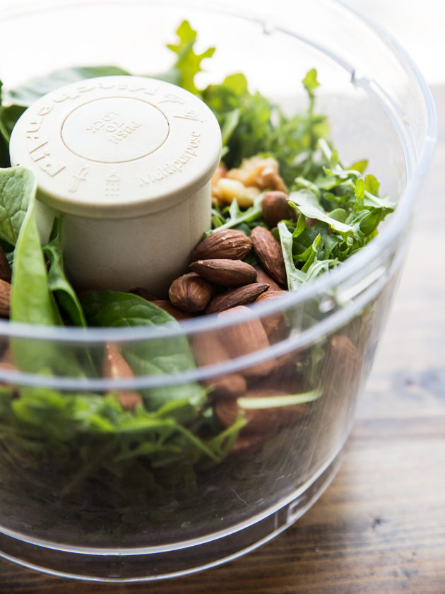 Almond Arugula Spinach Pesto - a simple springtime pesto that comes together quickly, and adds tons of flavor to sandwiches, salads, pizza, and more!
